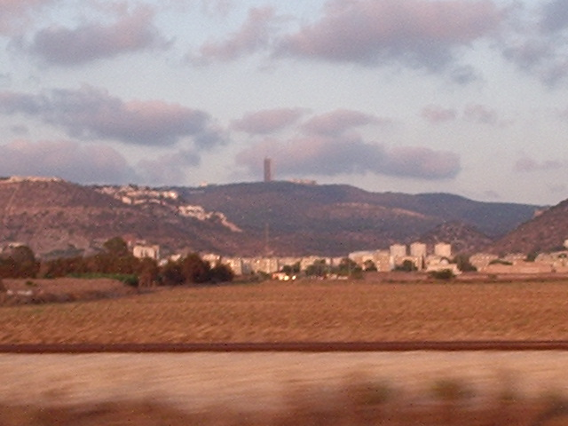 Picture of Haifa University on top of Mount Carmel and Haifa Suburb called Tirat Karmel below.